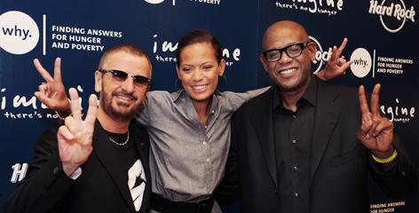 "Raising visibility for good causes is the ""celebrity way,"" says Ringo Starr, with Keisha and Forest Whitaker at Hard Rock Cafe Universal Studios.They're part of Hard Rock's Imagine There's No Hunger campaign."