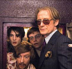 Tom Sturridge, left, Rhys Darby, Will Adamsdale and Bill Nighy play rock music from the waves to the airwaves.