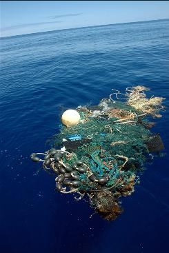 Trash floats in the Great Garbage Patch, about 1,000 miles west of California. Refuse collects in the huge vortex, which is formed by ocean currents.