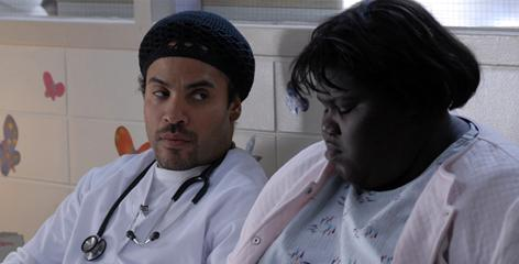 Precious: Nurse John (Lenny Kravitz) and Precious (Gabourey Sidibe) have a heart-to-heart in the drama that is garnering Oscar buzz.