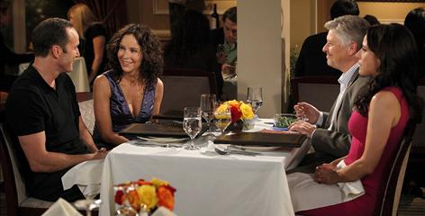 Christine (Julia Louis-Dreyfus, right) sets Richard (Clark Gregg, left) up on a date with gorgeous, passionate Tracey (Jennifer Grey). Meanwhile, Richard sets Christine up with his friend Tom (recurring guest star Dave Foley).