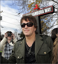 Richie Sambora stands in front of his newly dedicated street sign in Woodbridge, N.J.