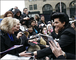 Adam Lambert greets fans during an appearance on CBS's The Early Show in New York on Wednesday.