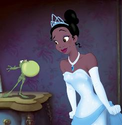 Breathe deep and pucker up: But when Princess Tiana kisses Prince Naveen, she turns into a frog, too.
