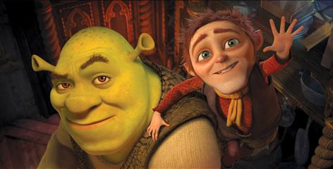 Shrek (voiced by Mike Myers) and Rumpelstiltskin (Walt Dohrn) in Shrek Forever After. Rumpelstiltskin returns for the final film after making brief pop-ups in Shrek 2 and 3.
