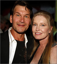 Patrick Swayze and his wife, Lisa Niemi, attend the grand opening of the Planet Hollywood Resort & Casino in Las Vegas in 2007.