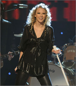 Taylor Swift goes up against Beyonce, The Black Eyed Peas, Lady Gaga and Dave Matthews Band for album of the year.