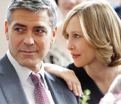 At home in business class: George Clooney, a corporate downsizer who travels to offices to lay workers off, has a one-night stand with a fellow traveler played by Vera Farmiga, but it doesn't end there.
