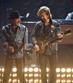 Fixtures at the CMAs: Brooks and Dunn perform during last month's awards show. The pair won 14 CMA Awards for vocal duo of the year during their career.