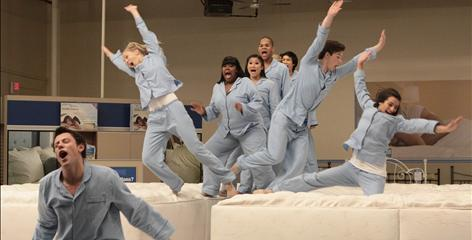 Cory Monteith, left, Heather Morris, Amber Riley, Jenna Ushkowitz, Dijon Talton, Harry Shum Jr., Chris Colfer, Lea Michele are taking a break after Wednesday night's midseason fnale. The show returns April 13.