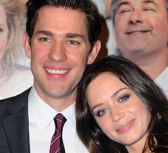 Actors John Krasinski and Emily Blunt attend the premiere of It's Complicated in New York on Wednesday. The pair are engaged.