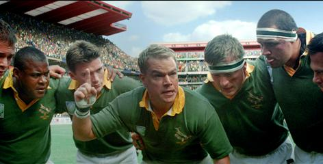 Field of dreams: Matt Damon, center, plays rugby team captain Francois Pienaar in the true story.