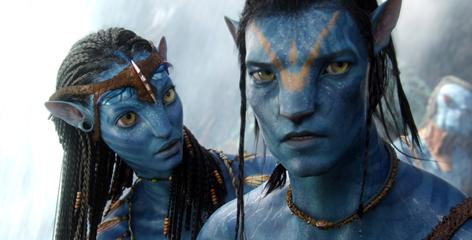 Blue moon: Jake's avatar (voice of Sam Worthington), right, meets Neytiri (Zoe Saldana) on Pandora.
