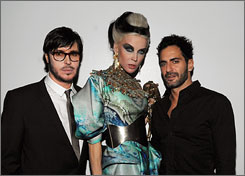 Franois Nars, left, celebrates the 15th anniversary of his namesake cosmetics label with beer heiress Daphne Guinness and designer Marc Jacobs