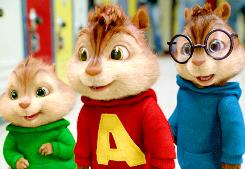 Theodore (voiced by Jesse McCartney), Alvin (Justin Long) and Simon (Matthew Gray Gubler) arrive for their first day in school in The Squeakquel.