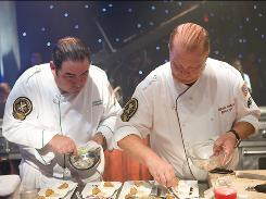 Iron Chef: Emeril Lagasse and Mario Batali team up to compete on the Food Network's Jan. 3 special Super Chef Battle.