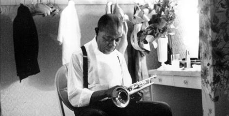 Louis Armstrong in his dressing room in Las Vegas, nine months before his death in 1971.
