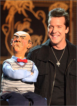 Jeff Dunham and his puppet Walter in a scene from his show.