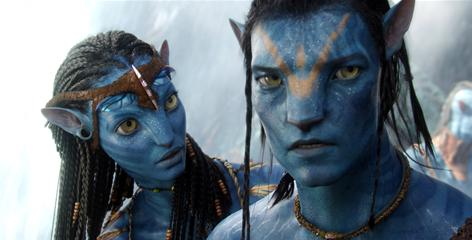 A futuristic Romeo-and-Juliet story: Neytiri, left, voiced by Zoe Saldana, and Jake, voiced by Sam Worthington.