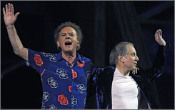Simon and Garfunkel, seen here at the Rock & Roll Hall of Fame 25th anniversary concert, have signed up for New Orleans' Jazz Fest  on April 24.