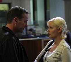 In briefly happier times: Kiefer Sutherland's Jack has a happy reunion with daughter Kim (Elisha Cuthbert).