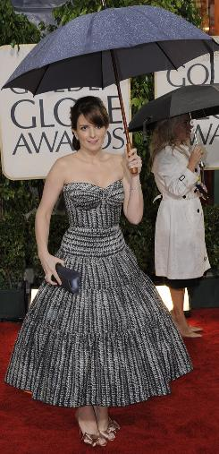 """Tina Fey said the evening rain was """"God crying for NBC,"""" which is in the midst of the Leno/O'Brien drama."""