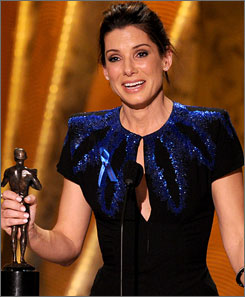 Sandra Bullock accepts her Screen Actors Guild award for her performance in the The Blind Side.