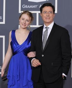 """Am I cool enough?"" Stephen Colbert got an affirmative from his daughter, Madeline, left, after he won the Grammy for best comedy album."