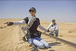 Hurt Locker director Kathryn Bigelow and cinematographer Barry Ackroyd on location. Bigelow, 58, is only the fourth woman to be nominated for best director.