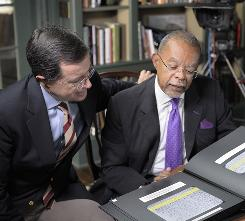 "The ""book of life"": Henry Louis Gates Jr., right, walks Comedy Central's Stephen Colbert through his Irish ancestry."
