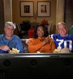 Jay Leno, Oprah Winfrey and David Letterman appeared in a promo for Letterman's late-night show that aired during the Super Bowl.