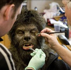 "Naturally hirsute Benicio Del Toro made makeup artist Rick Baker's job easier. ""Benicio is practically a werewolf, anyway,"" Baker says."