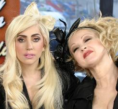 On the Today show: Lady Gaga, left, and Cyndi Lauper talk about their roles in the MAC Viva Glam AIDS program.