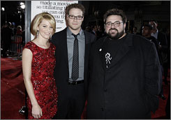 Kevin Smith, right, with Zack and Miri Make a Porno stars, Elizabeth Banks and Seth Rogen at the 2008 film premiere.