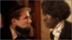 Will Ferrell, as President Abraham Lincoln, and Don Cheadle, as Frederick Douglass, are in a skit posted on FunnyorDie.com.