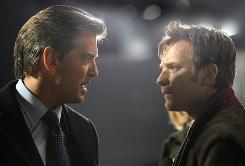More to this story than meets the eye: Pierce Brosnan, left, and Ewan McGregor collaborate on more than a biography.