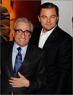Celebrating the New York premiere of Shutter Island, Martin Scorsese and Leonardo DiCaprio attend a cocktail party Feb. 16 at Armani Ristorante.