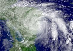 Nov. 5, 2009: A satellite image shows Hurricane Ida coming ashore in Nicaragua. The Category 1 hurricane packed 75-mph winds.