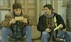Andrew Koenig, right, played Boner on Growing Pains in the late 1980s. His buddy on the show was played by Kirk Cameron, left.