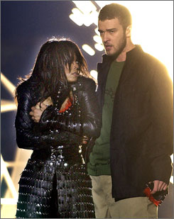 Janet Jackson's right breast was exposed during her performance with Justin Timberlake at the 2004 Super Bowl, which aired on CBS.