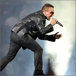 They're rich: Bono performs on July 18, 2009 in Berlin.