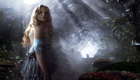 This Alice (Mia Wasikowska), innocent but empowered, arrives in a world of color and magic, both dark and light.