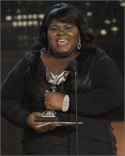 Gabourey Sidibe accepts the best actress award at the Independent Spirit Awards. The film Precious took home five awards