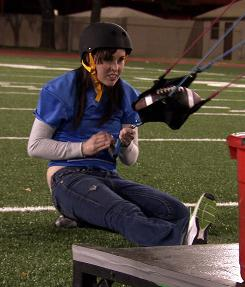 Contestant Amanda Brockman takes part in one of the challenges on The Tester.