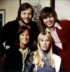"Benny Andersson, rear left, Bjorn Ulvaeus, Anni-Frid ""Frida"" Lyngstad, front left, and Agnetha Faltskog in the 1970s. Ex-spouses Andersson and Lyngstad will attend the Swedish pop group's induction into the Rock and Roll Hall of Fame on Monday."