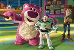 Lots-o-Huggin Bear, Buzz Lightyear and Woody in the Toy Story 3 (in theaters June 18), one of 19 3-D films due this year.