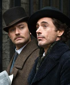 Jude Law, left, and Robert Downey Jr. star in Sherlock Holmes.