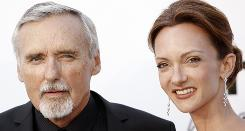 In happier times: Dennis Hopper and his estranged wife Victoria Duffy at the amfAR's annual Cinema Against AIDS 2008 gala in France.