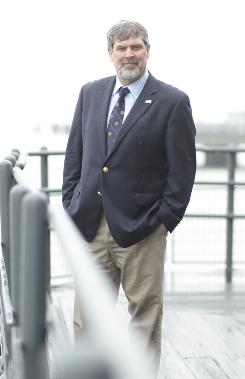 At South Street Seaport: Merchant Marine Capt. Richard Phillips, who was held hostage for five days and rescued last Easter, in New York as his book, A Captain's Duty, is set for release Tuesday.