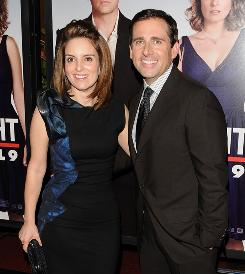 "At the Ziegfeld Theatre in New York: Co-stars Tina Fey and Steve Carell arrive for the premiere. Says Carell about Fey: ""She's not unlike my own wife: smart and funny and beautiful."""